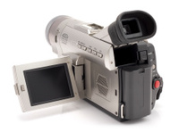 MiniDV Camcorder electronic home video recording device on white