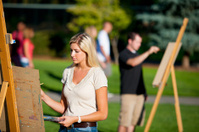 College students painting