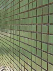 Green tile wall angled