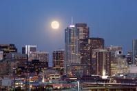Moonrise over Downtown Denver Skyline