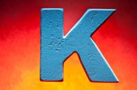 K, wood letter