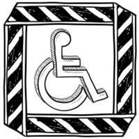 Handicapped wheelchair symbol sketch