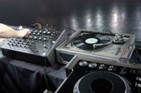 DJ concert venue mixer and turntables soundcheck