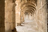 Passageway of Aspendos Roman Amphitheatre near Antalya, Turkey.