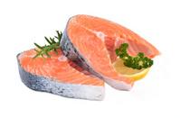 Raw salmon steaks