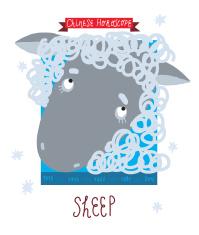 cartoon illustration Sheep Chinese horoscope Zodiac Sign