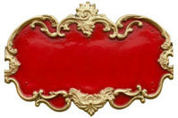 Baroque gold ornamental frame around a gaudy painted red fill.