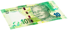 New South African Ten Rand note featuring Nelson Mandela