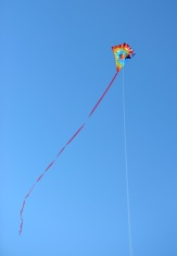 Colorful kite on the blue sky