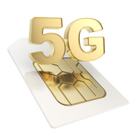 5G circuit microchip SIM card emblem isolated