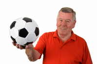 Old man with soccer ball