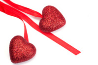 Red Hearts And Ribbon