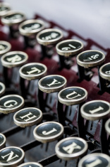 Vintage typewriter keys close up shot