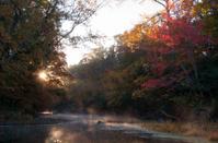 Autumn stream sunrise