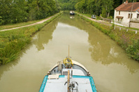 French waterway, boat in Canal Bourgogne. France.