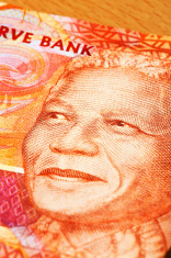 Nelson Mandela's face in close up on new banknote