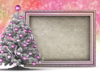 Christmas card - xmas tree and blank handmade paper sheet