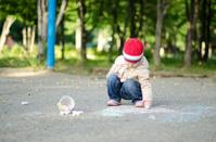 Child and chalk.