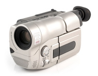 Camcorder electronic home video recording device on a white back