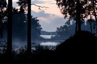 Foggy lake Åsnen at Night