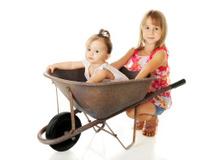 Sisters with a Wheelbarrow