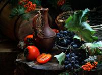 Still Life with Jug, persimmon, ash and grapes