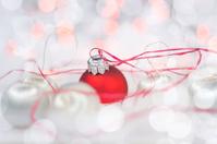 Christmas card with balls and bokeh