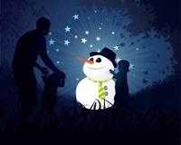 Snowman Christmas Moon