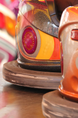 Colorful funfair dodgem cars at amusement park