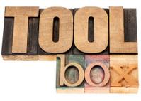 toolbox word in wood type