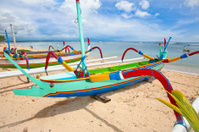 Traditional fishing boats in Nusa Dua on Bali.
