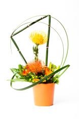 Yellow and Red Flower Arrangement in Orange Planter