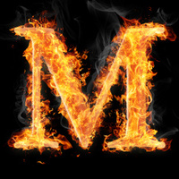 Fonts and symbols in fire - Letter M
