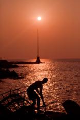 fisherman at sunset beirut Lebanon