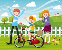 Happy Family Biking