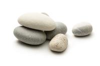 Sea stones on white background