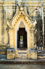Door with ornaments in Burmese temple (Myanmar)
