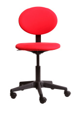 Red office chair facing forward