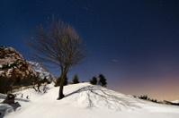 Moon stars and snow