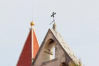two mediterranean historic church bell towers in Trogir Croatia