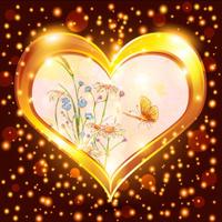 golden shiny heart