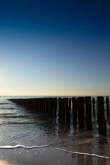 waves breaking on a wooden breakwater along the Dutch coast