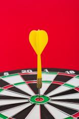 Dart sticks to bullseye on a board