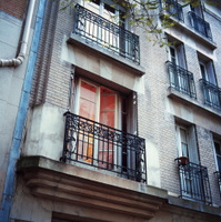 Parisian apartment flat with balcony, evening
