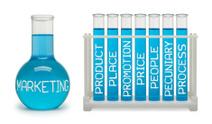 Concept of marketing. Cyan flasks.