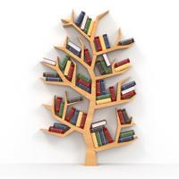 Books on tree-shaped bookshelf on white background