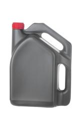 Gray Motor Oil Bottle on White Background