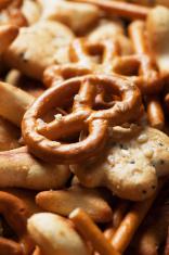Pretzel and cracker salty snack