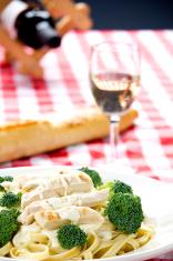Chicken Fettuccine Alfredo with white wine