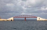 Malta Harbour Red Steel Truss Bridge